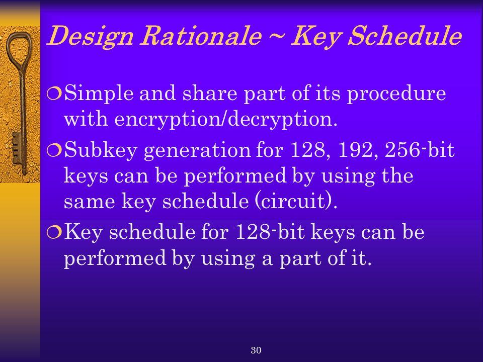 Design Rationale ~ Key Schedule