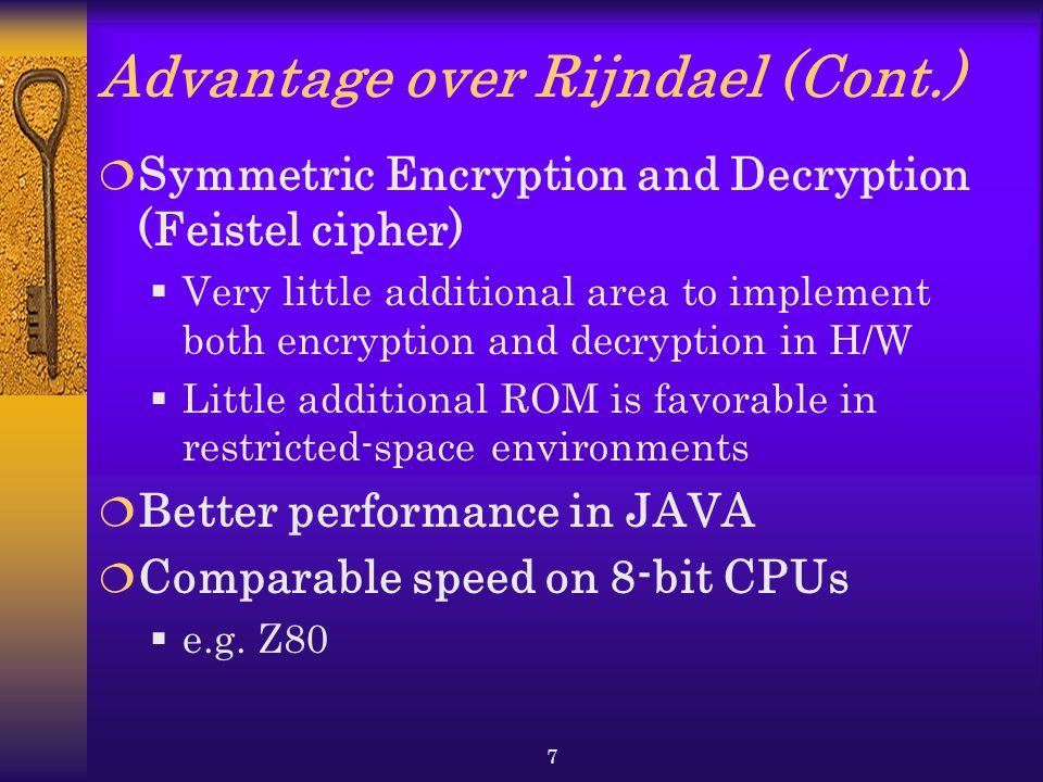 Advantage over Rijndael (Cont.)