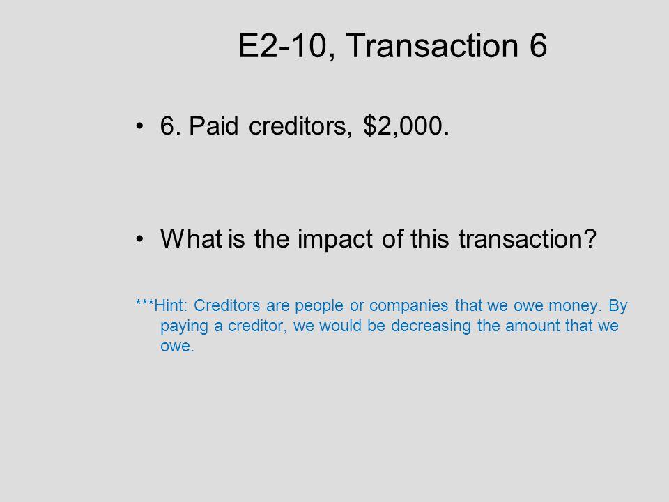 E2-10, Transaction 6 6. Paid creditors, $2,000.