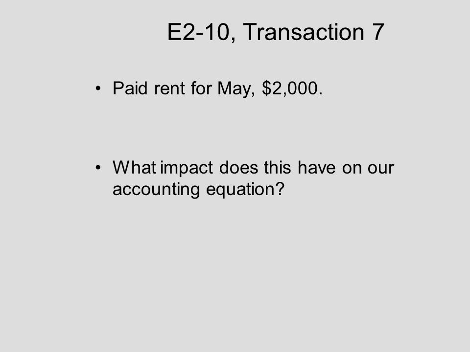 E2-10, Transaction 7 Paid rent for May, $2,000.
