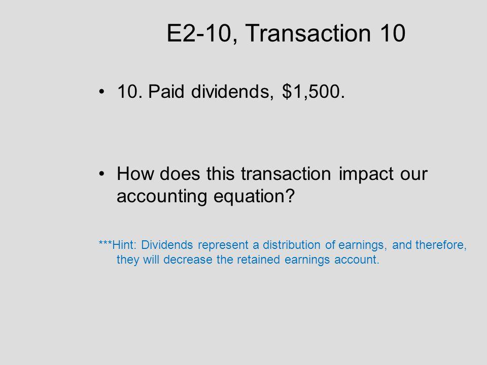 E2-10, Transaction 10 10. Paid dividends, $1,500.