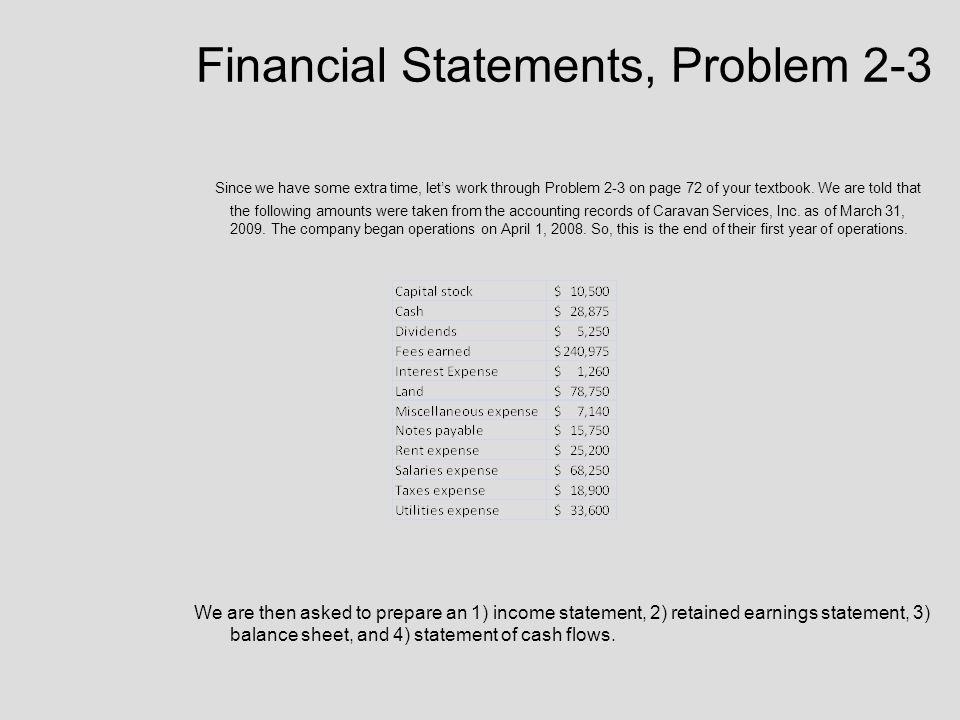 Financial Statements, Problem 2-3