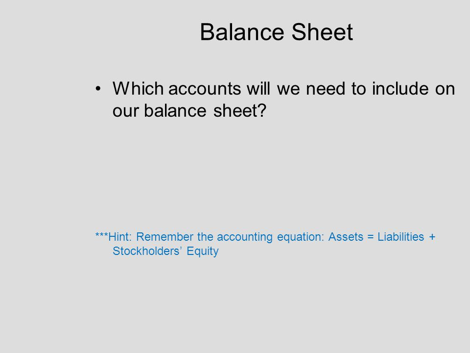 Balance Sheet Which accounts will we need to include on our balance sheet