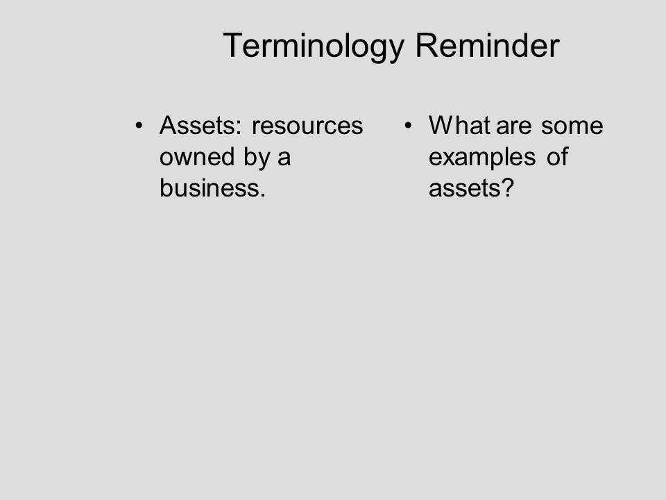 Terminology Reminder Assets: resources owned by a business.