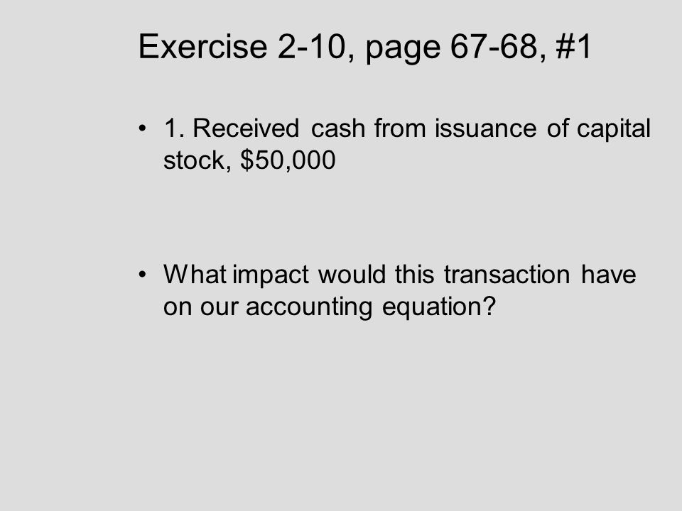 Exercise 2-10, page 67-68, #1 1. Received cash from issuance of capital stock, $50,000.