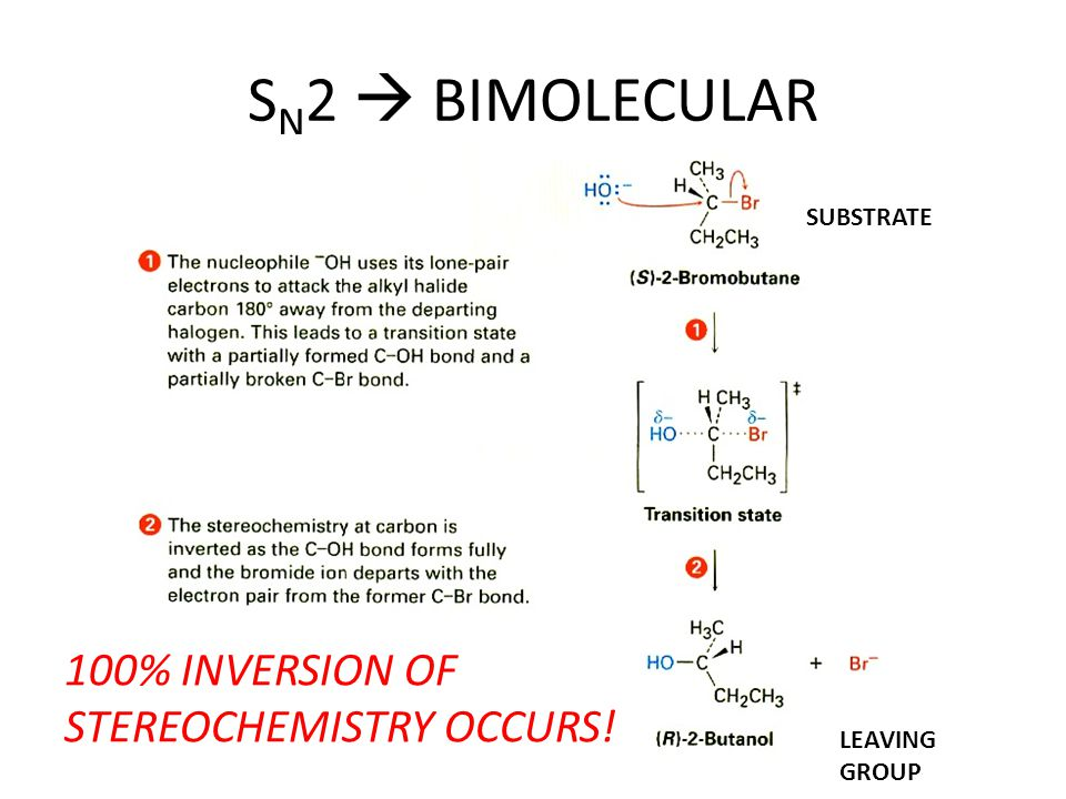 SN2  BIMOLECULAR 100% INVERSION OF STEREOCHEMISTRY OCCURS! SUBSTRATE