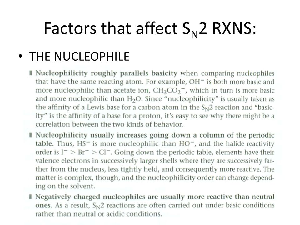 Factors that affect SN2 RXNS: