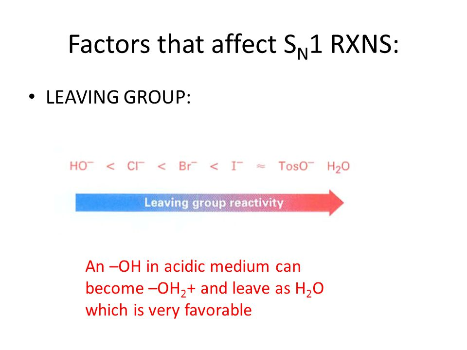Factors that affect SN1 RXNS: