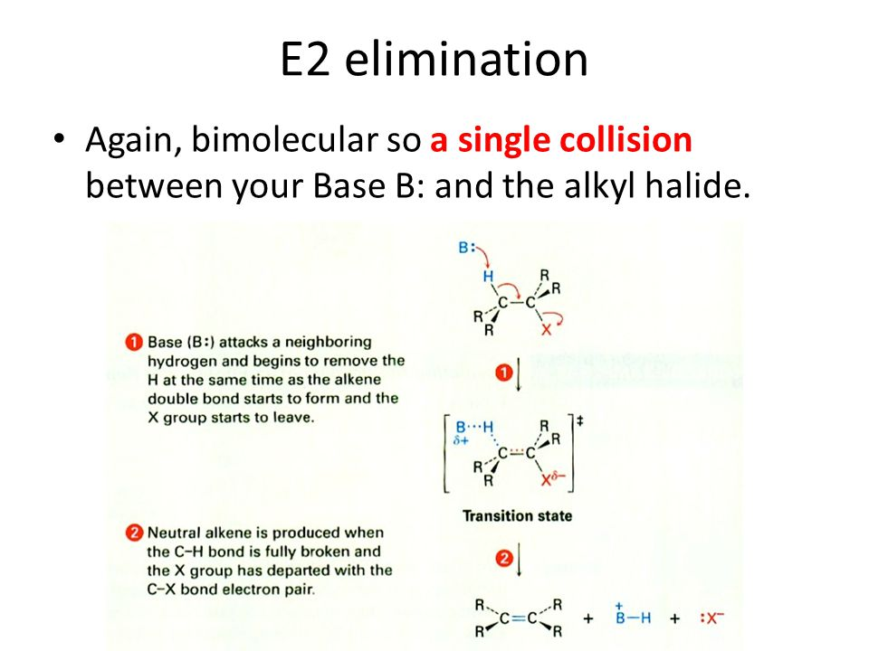 E2 elimination Again, bimolecular so a single collision between your Base B: and the alkyl halide.