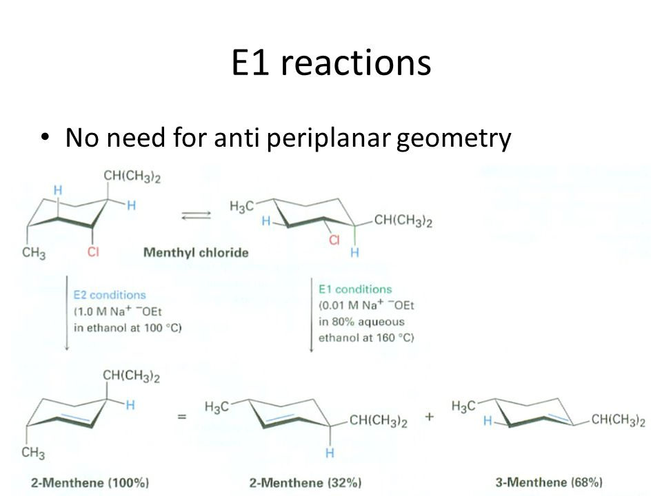 E1 reactions No need for anti periplanar geometry