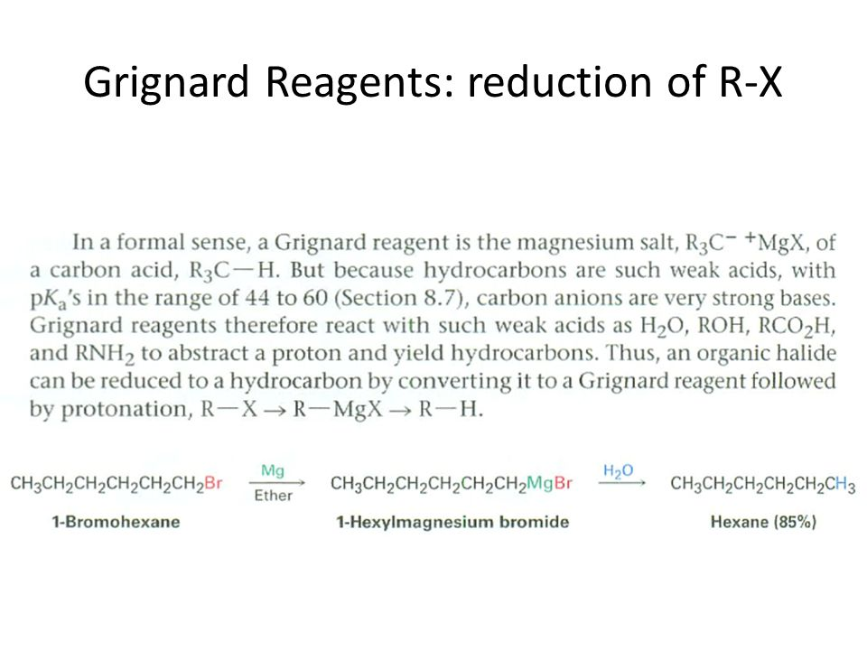 Grignard Reagents: reduction of R-X