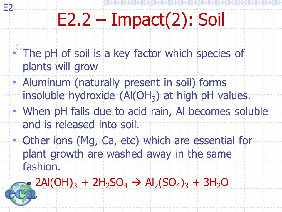 E2.2 – Impact(2): Soil The pH of soil is a key factor which species of plants will grow.