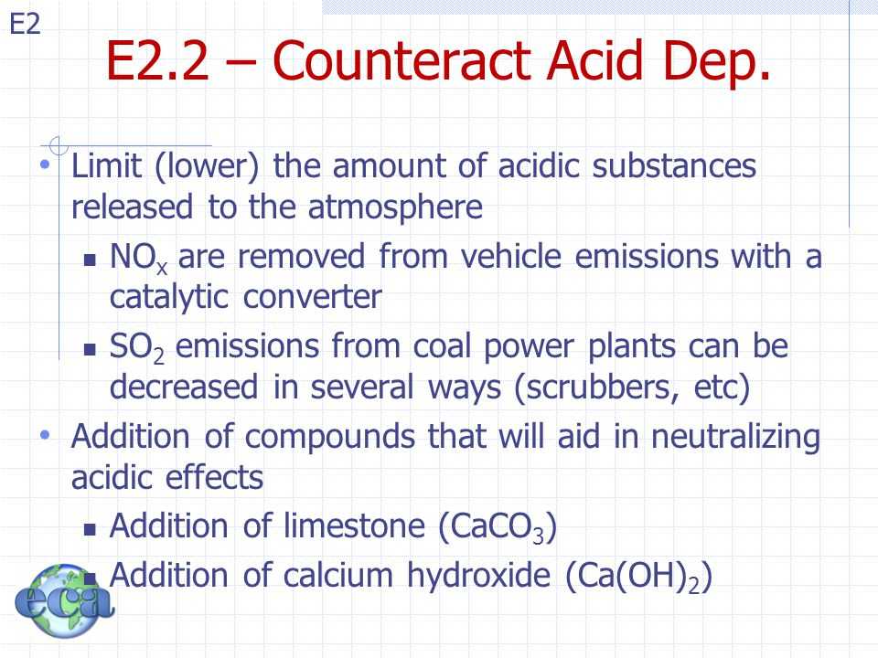 E2.2 – Counteract Acid Dep. Limit (lower) the amount of acidic substances released to the atmosphere.