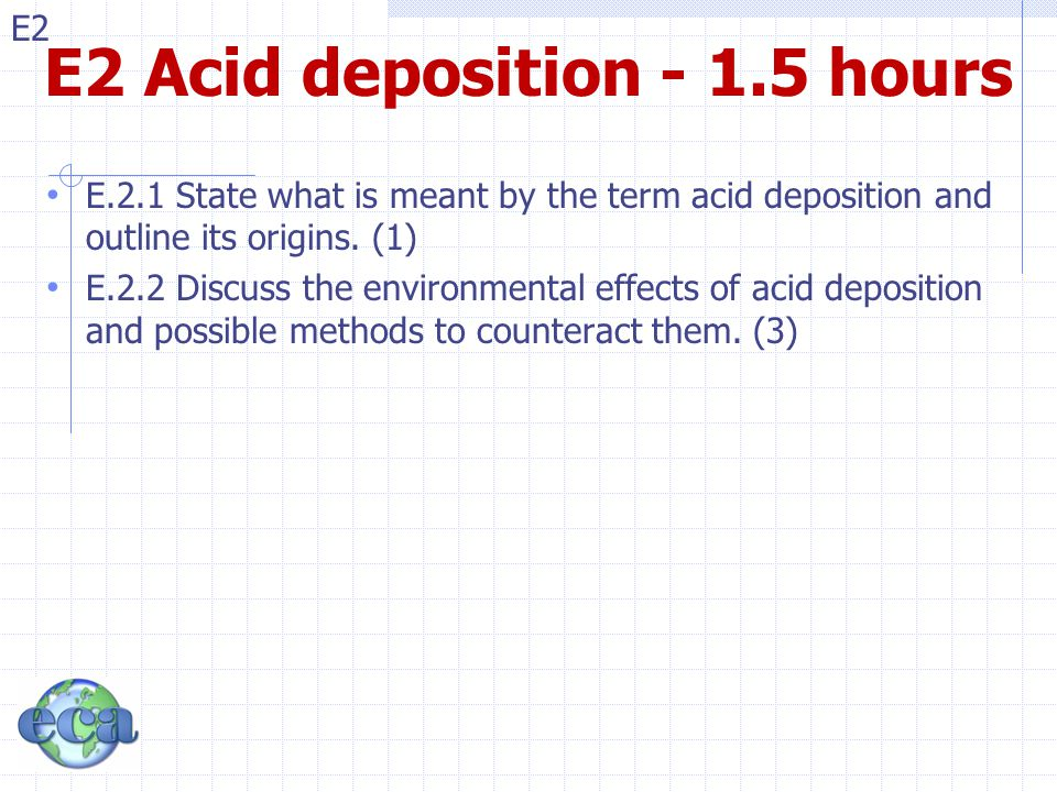 E2 Acid deposition - 1.5 hours