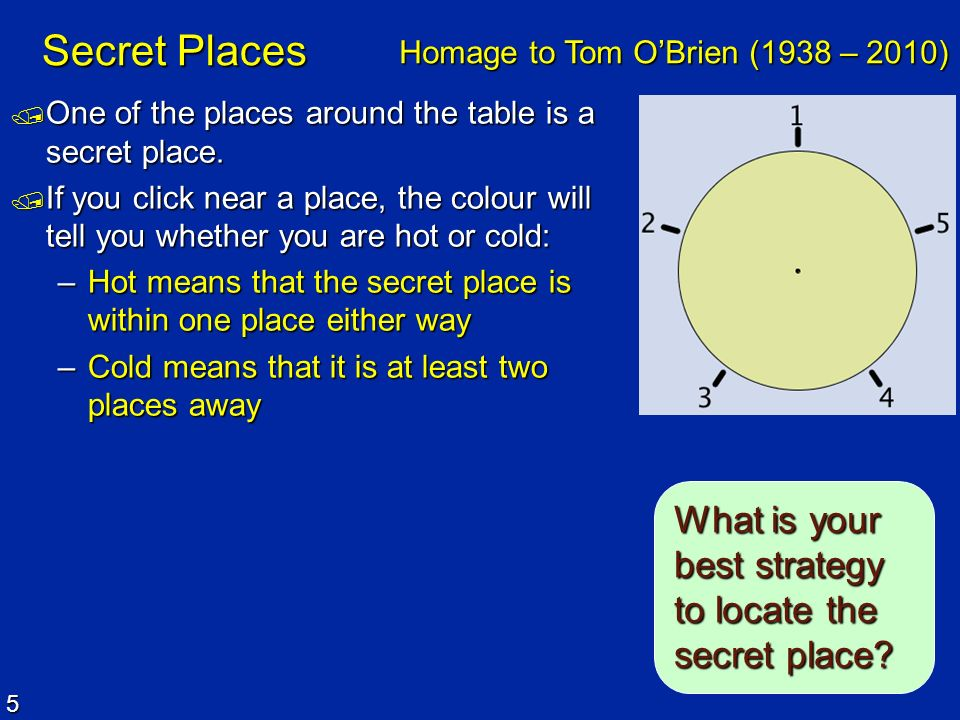 Secret Places What is your best strategy to locate the secret place