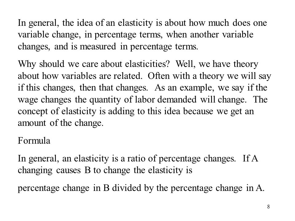 In general, the idea of an elasticity is about how much does one variable change, in percentage terms, when another variable changes, and is measured in percentage terms.