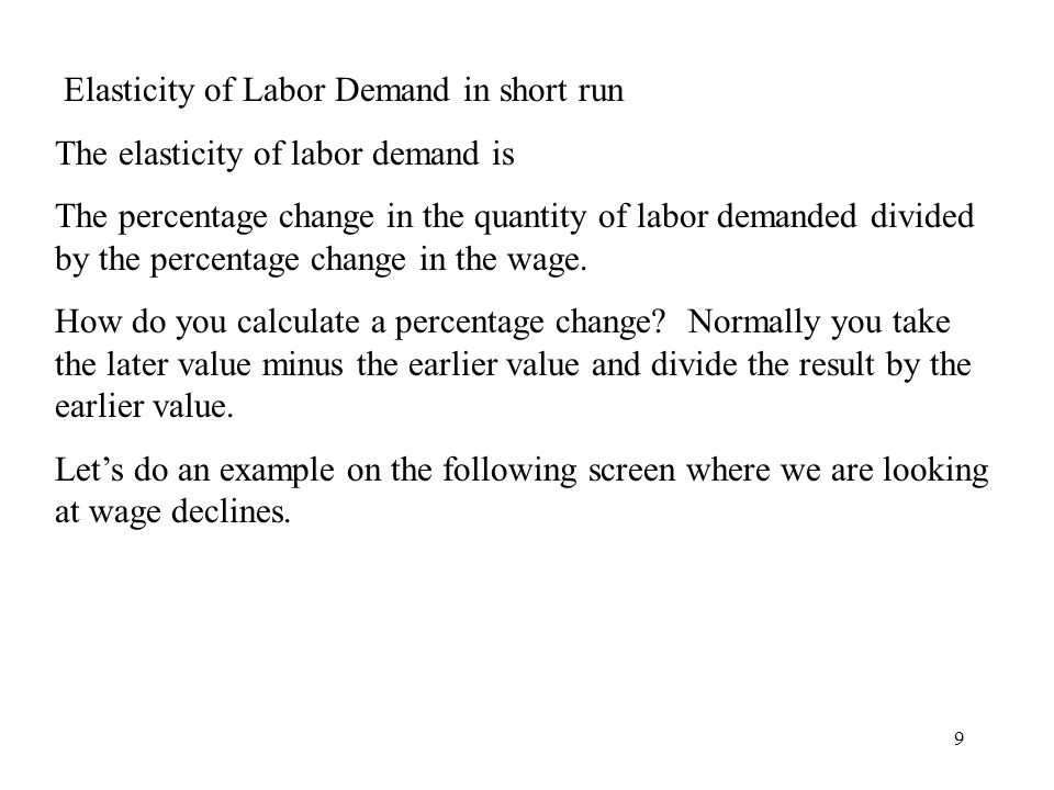 Elasticity of Labor Demand in short run