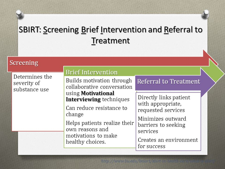 SBIRT: Screening Brief Intervention and Referral to Treatment