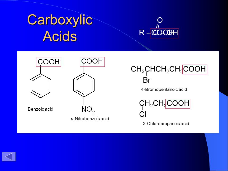 Carboxylic Acids R – C – OH = O R - COOH CH3CHCH2CH2COOH Br CH2CH2COOH