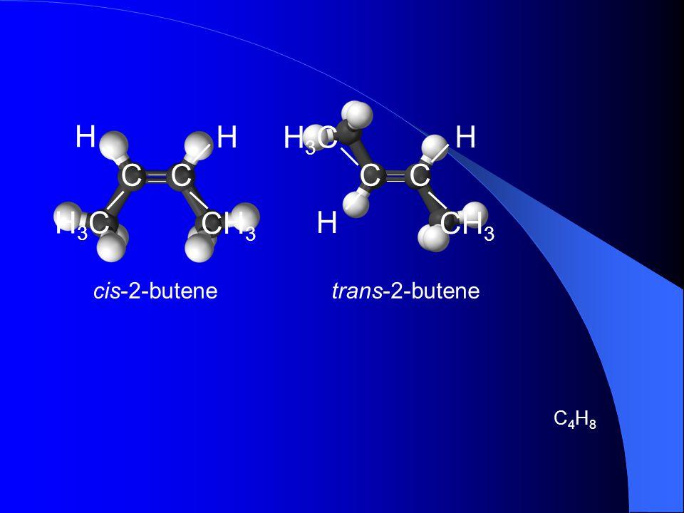 CH3 C H H3C CH3 C H H3C cis-2-butene trans-2-butene C4H8