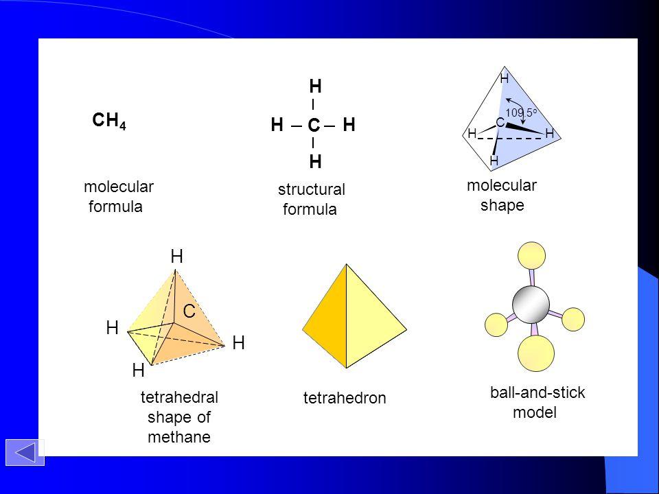 CH4 C H C H molecular molecular structural formula shape formula