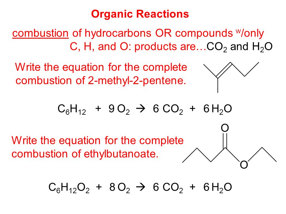 combustion of hydrocarbons OR compounds w/only