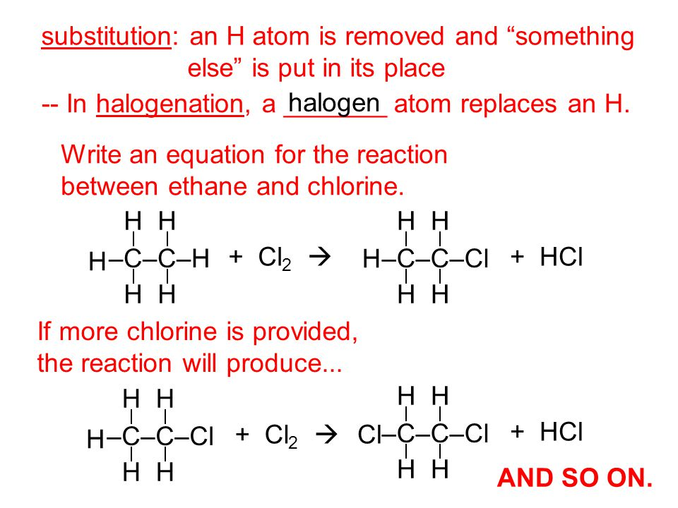 substitution: an H atom is removed and something