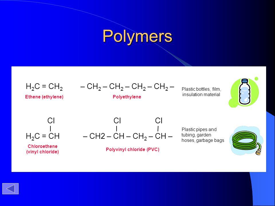 Polymers H2C = CH2 – CH2 – CH2 – CH2 – CH2 – H2C = CH Cl