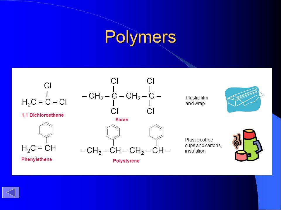 Polymers Cl Cl – CH2 – C – CH2 – C – H2C = C – Cl H2C = CH