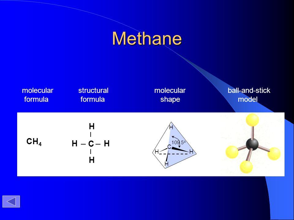 Methane CH4 C H molecular formula structural formula molecular shape