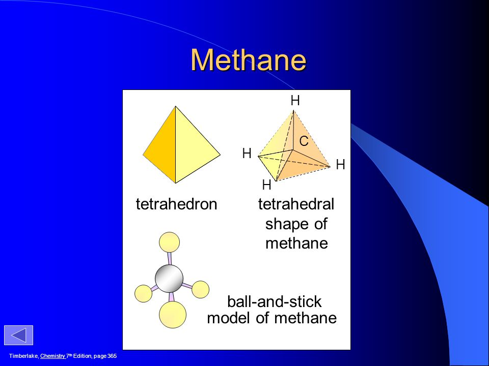 Methane tetrahedron tetrahedral shape of methane ball-and-stick