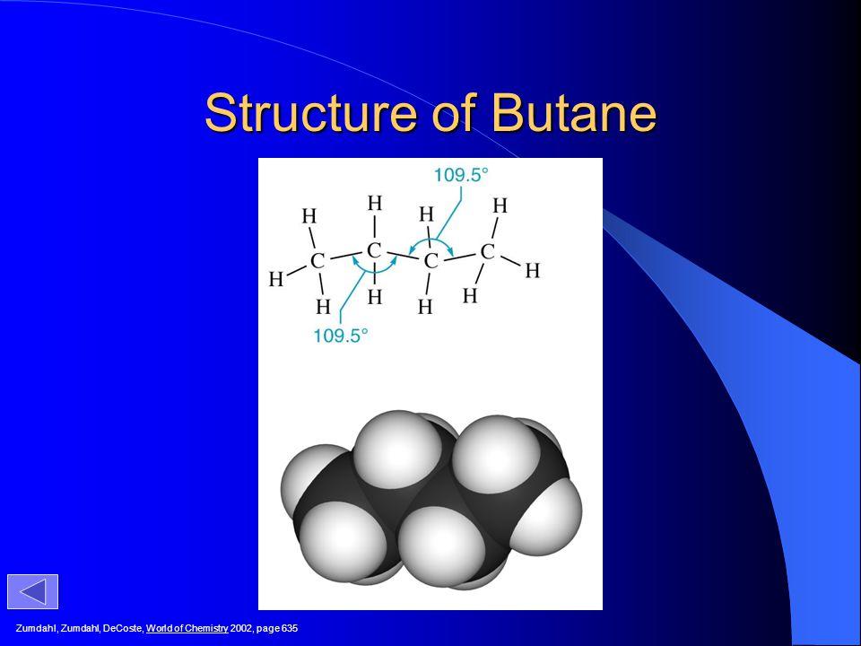 Structure of Butane Zumdahl, Zumdahl, DeCoste, World of Chemistry 2002, page 635