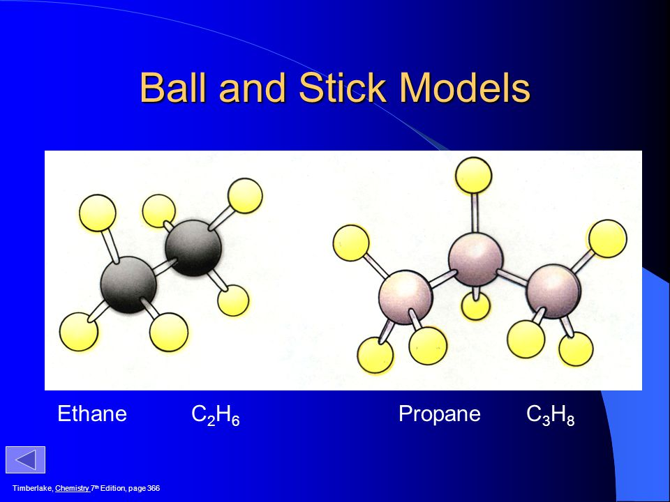 Ball and Stick Models Ethane C2H6 Propane C3H8