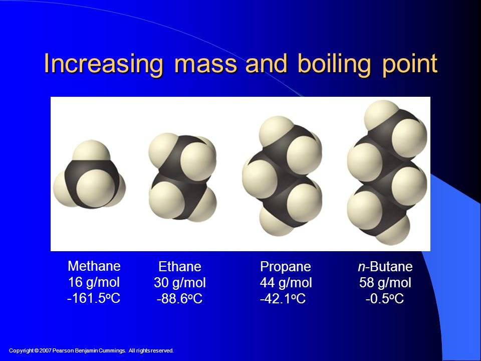 Increasing mass and boiling point
