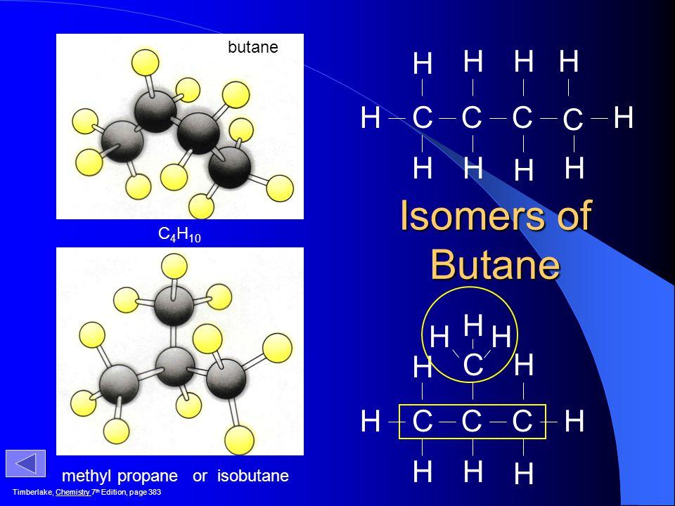 Isomers of Butane C H C H butane C4H10 methyl propane or isobutane