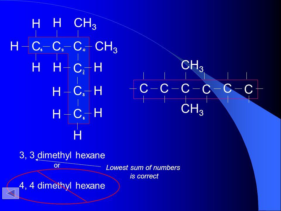 H H CH3 H C C C C CH3 H H C H H C H H C H H 3, 3 dimethyl hexane