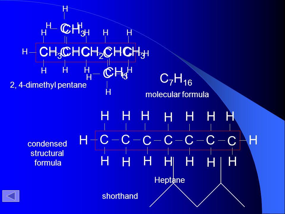 CH3CHCH2CHCH3 C CH3 C7H16 C H H 2, 4-dimethyl pentane