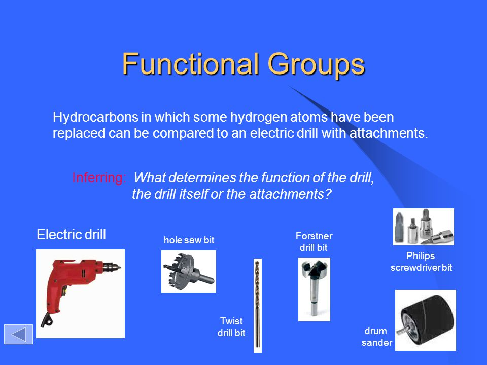 Functional Groups Hydrocarbons in which some hydrogen atoms have been