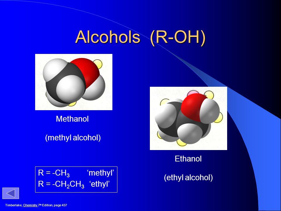 Alcohols (R-OH) Methanol (methyl alcohol) Ethanol (ethyl alcohol)