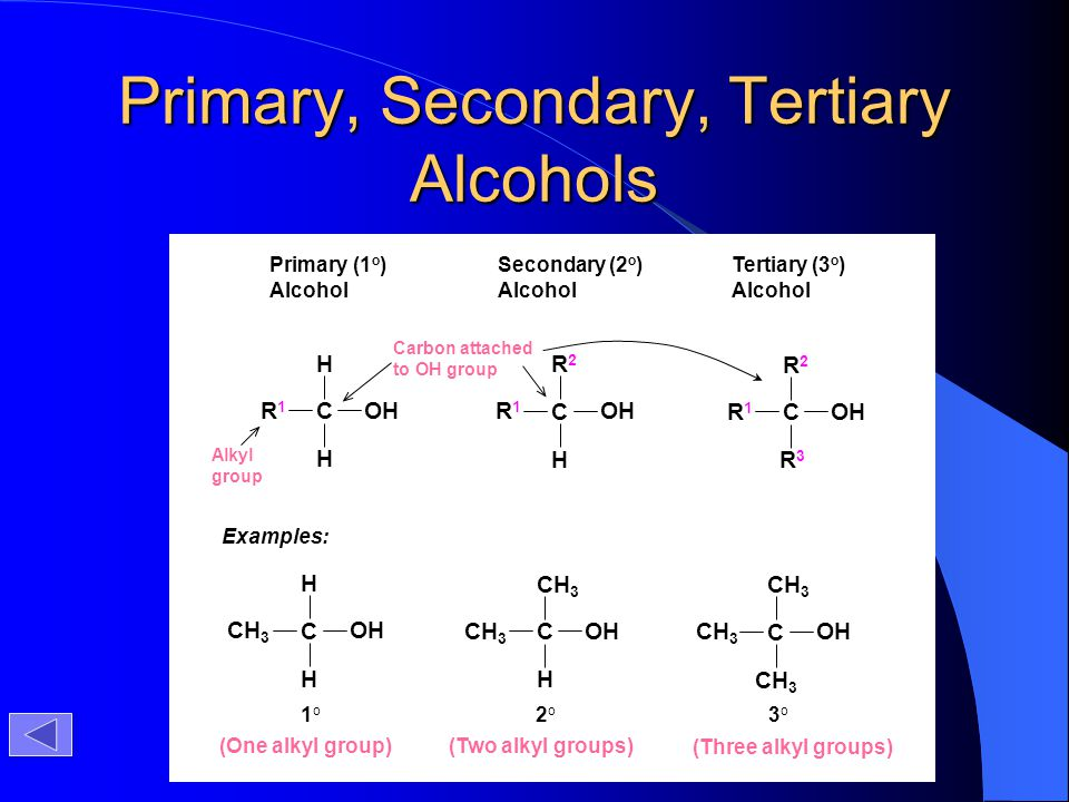 Primary, Secondary, Tertiary Alcohols