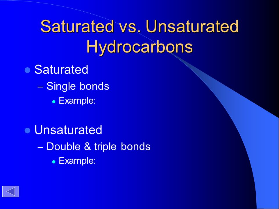 Saturated vs. Unsaturated Hydrocarbons