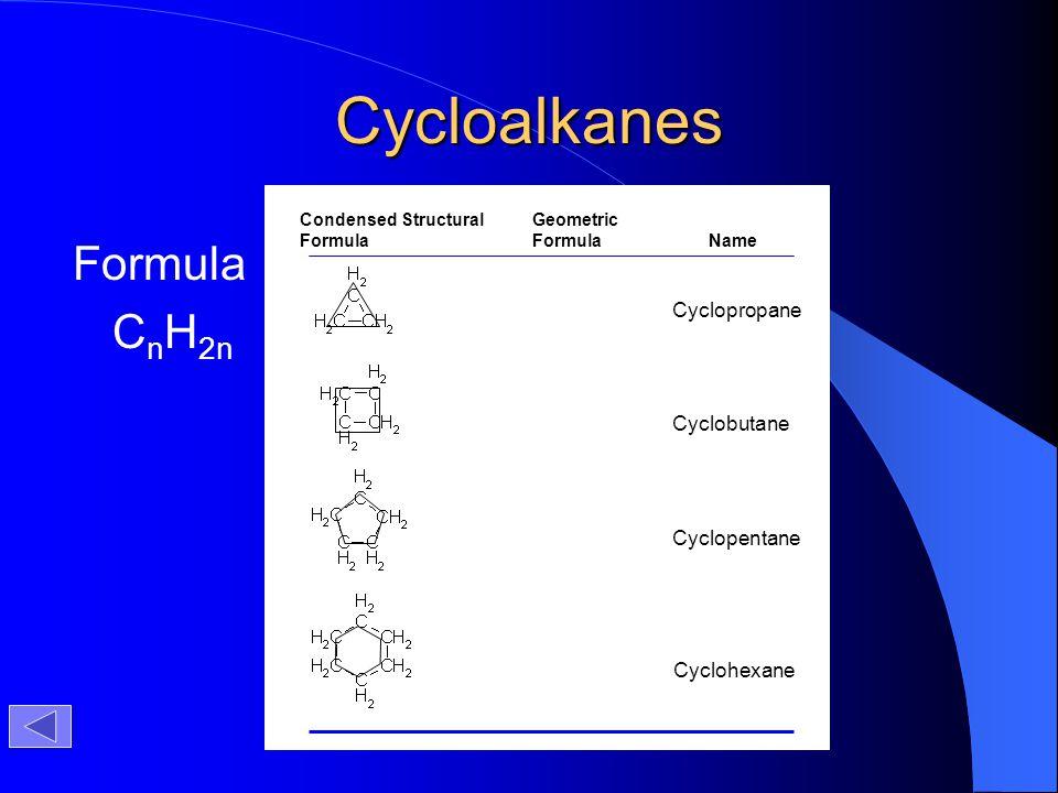 Cycloalkanes Formula CnH2n Cyclopropane Cyclobutane Cyclopentane
