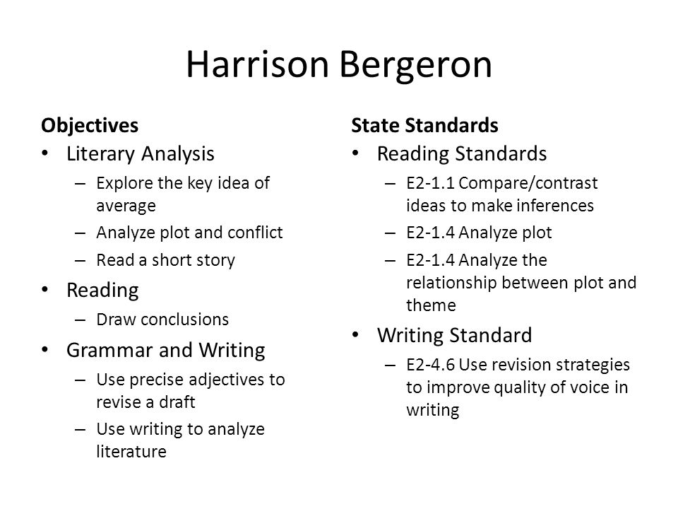 a literary analysis of harrison bergeron by kurt vonnegut