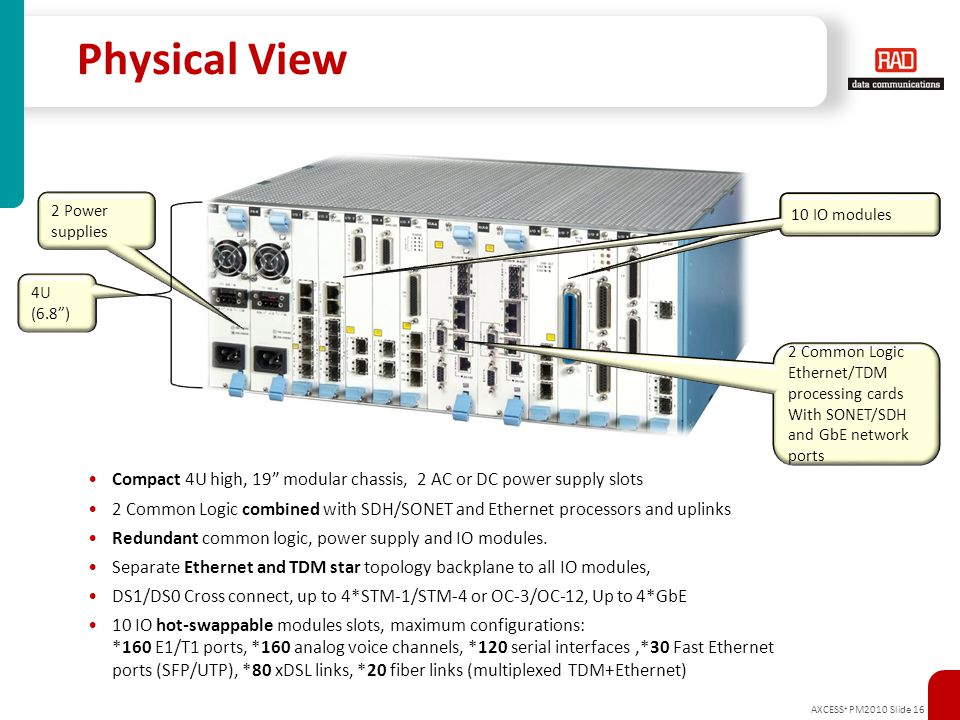 Physical View 2 Power supplies. 10 IO modules. 10x IO modules. 4U (6.8 ) 2 Common Logic Ethernet/TDM processing cards.