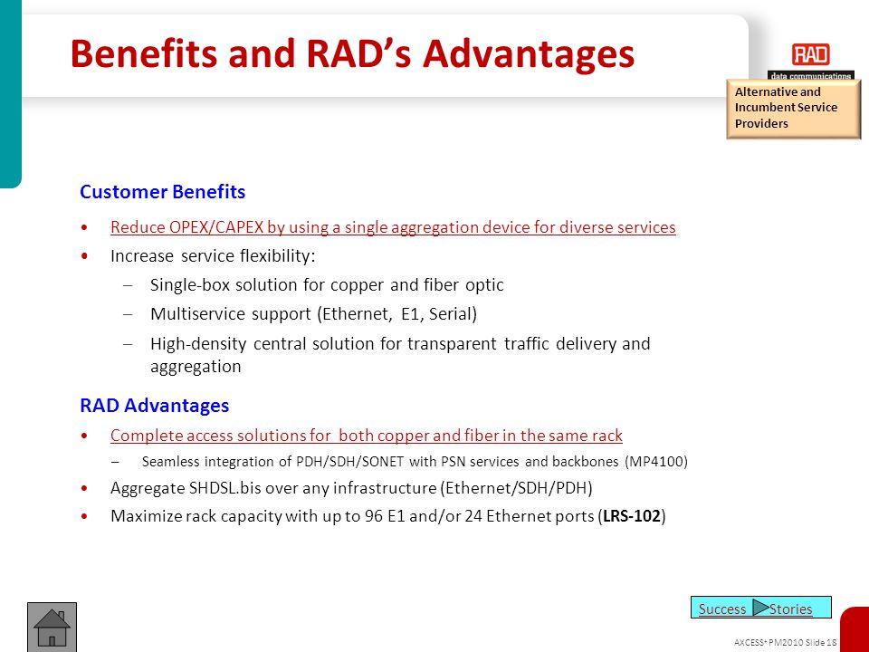 Benefits and RAD's Advantages