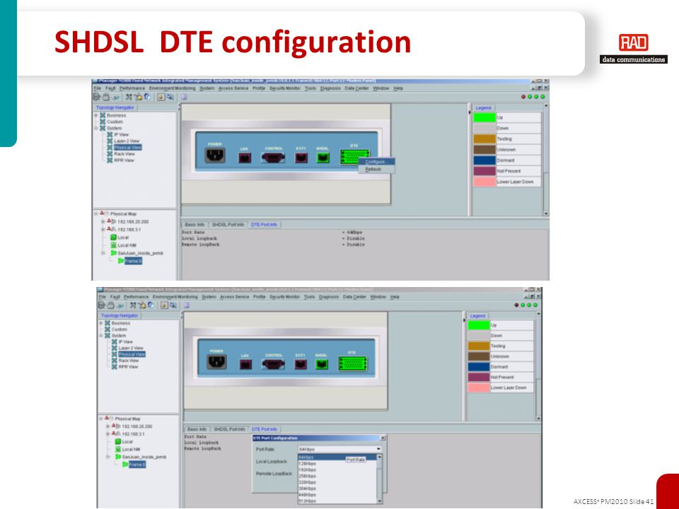 SHDSL DTE configuration