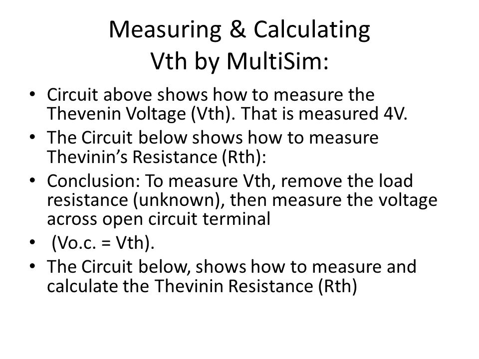 Measuring & Calculating Vth by MultiSim: