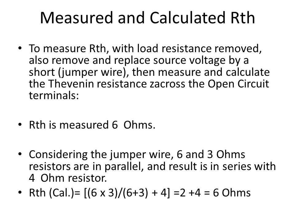 Measured and Calculated Rth