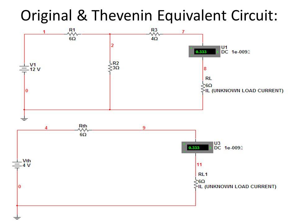 Original & Thevenin Equivalent Circuit: