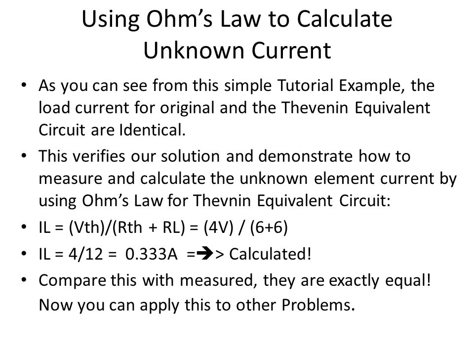 Using Ohm's Law to Calculate Unknown Current